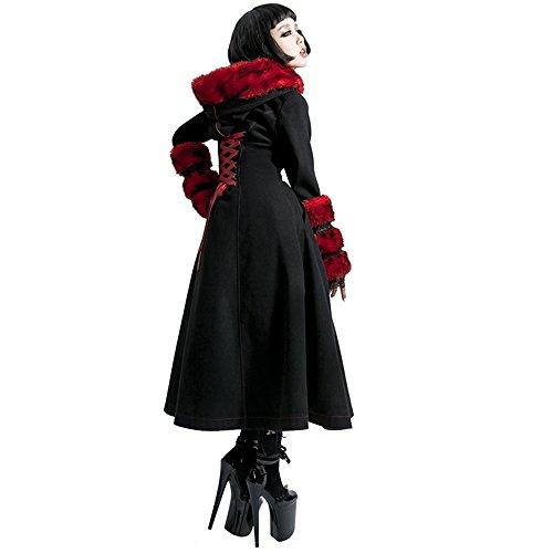 Gothic Lolita Style Woolen Fur Coat Steampunk Autumn Winter Fashion Long Sleeve Hooded Long Jackets (L, Black) by Punk (Image #2)