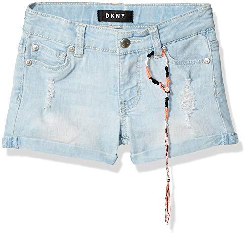 DKNY Girls' Toddler Rip and Repair Cuffed Denim Short, Extra Light Wash, 3T