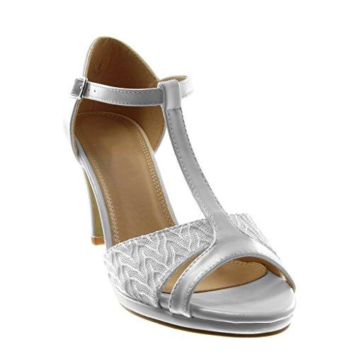 Angkorly Talon toe Brillant Chaussure Mode Haut 8 Blanc 5 Aiguille Femme Sandale Cm Dentelle Escarpin Stiletto Peep Salomés SSH4qxwr