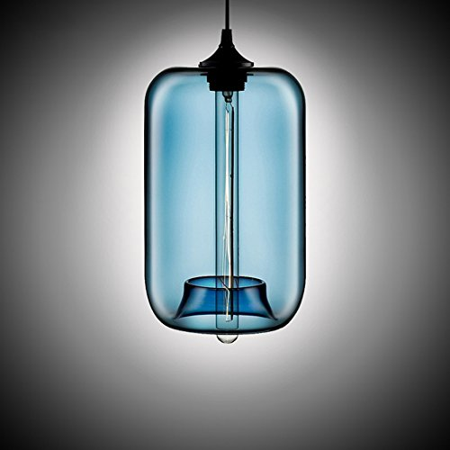 MKLOT Ecopower Edison Minimal 1 Light Pendant Shade Vintage with Blue Glass Shade Straight Glass Shape Hand Blown Art Glass (Vintage Hand Blown Glass)