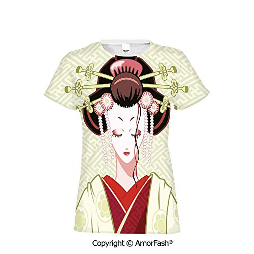 (Distinctive Women's Premium Polyester T-Shirt,Japanese,Geisha Woman Portrait Tra)