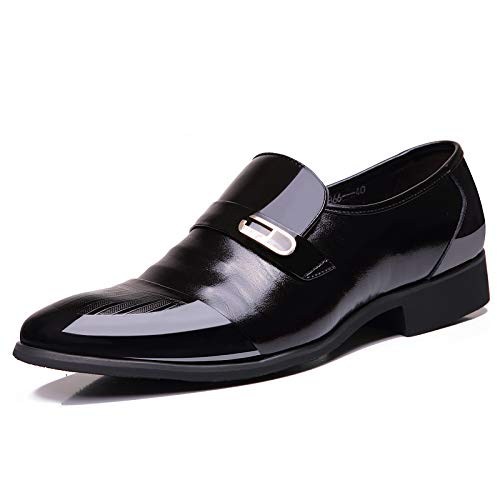 OUOUVALLEY Mens Patent Leather Tuxedo Dress Shoes Lace up Pointed Toe Oxfords