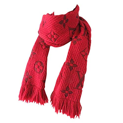 (Made in Italy Luxury LVILOG0MANIA iconic monogram Collection UNISEX Red Scarf wool silk)
