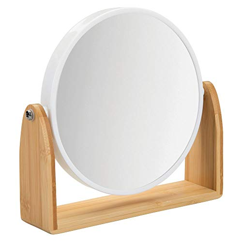 mDesign Modern Bathroom Vanity Double-Sided Freestanding Makeup and Shaving Mirror - 6 Inch Round, with 360 Degree Swivel, Regular 1X and 3X Magnification, Portable - Natural Bamboo Stand/White Frame (Stand Small Mirror With)