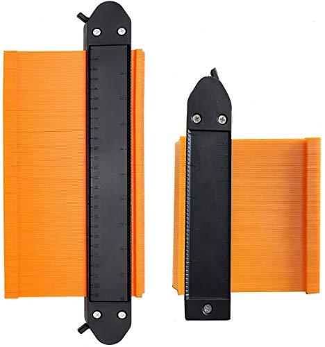 2 Stücke Konturenlehre mit Feststeller, 250mm und 120mm Duplikator Wickelrohre Holz Markierungswerkzeug Profil Kopierer mit Skala unregelmäßiges Konturmessgerät für präzise Messung (Gelb)