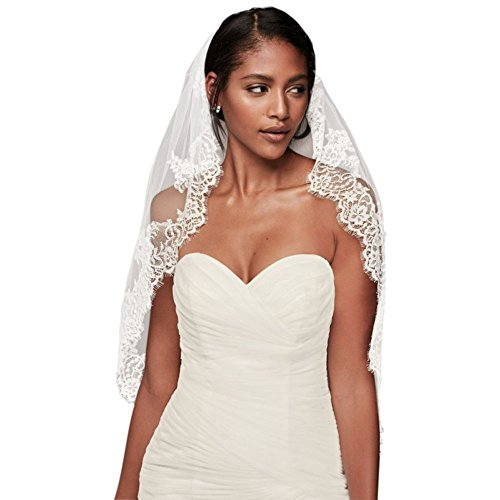 Eyelash Lace Fingertip Veil Style V2010, Ivory by David's Bridal