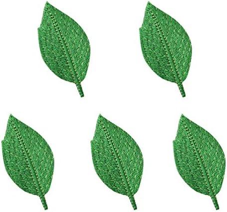 (ライチ) Lychee 5枚はいり アイロン パッチ バッジ 木の葉 草色 刺繍 接着剤付け おしゃれ 可愛い 個性的な装飾 装飾品 縫製 ジャケット バッグ 工芸品 DIY