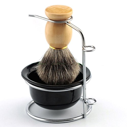Yosoo Men's Shaving Brushes Set with Stainless Steel Shaving Brush Razor Stand Holder Shaving Bowl Mug Set or Faux Hair Shaving Brush (Brush+Brush Stand Holder)