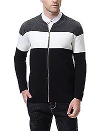 "<span class=""a-offscreen"">[Sponsored]</span>Men's Cardigan Knitted Sweater Latticed Stripe Slim Fit Black White"