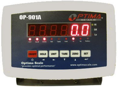 Optima Scales OP-901 ABS Plastic Digital Weighing Indicator with Rechargeable Battery
