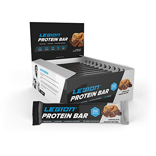 Legion Protein Bar Chocolate Peanut Butter 100% Whey and Pea Protein, Baked Bars with Prebiotic Fiber – High Protein (20g) Low Fat (6g) Low Sugar (4g) No Soy or Gluten – Natural Flavors (12 Count)