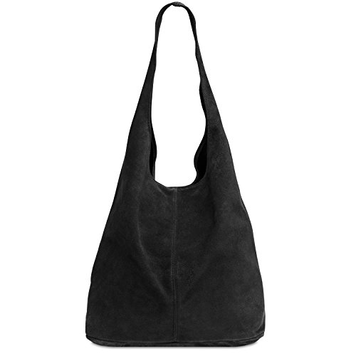 CASPAR TL767 large Women Suede Leather Shopper Black