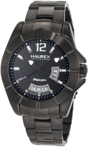 Haurex Italy Men's 7N366UNN Aston Black PVD Day and Date Steel Bracelet Sport Watch - Steel Watch Stainless Aston