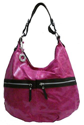 Borsa della donna. Borsa a tracolla. Crossing Bag. Pelle di colore rosa e marrone.