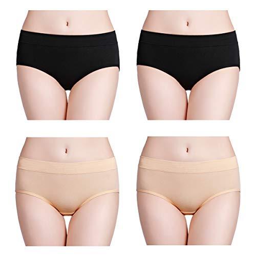 wirarpa Womens Soft Cotton Stretch Underwear 4 Pack Comfortable Mid Rise Briefs Underpants Black Beige, Size 7 ()