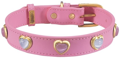 "17""-20"" Heart Pink & White Cat Eye On Dark Pink Dog Collar 1"" wide, Extra Large"