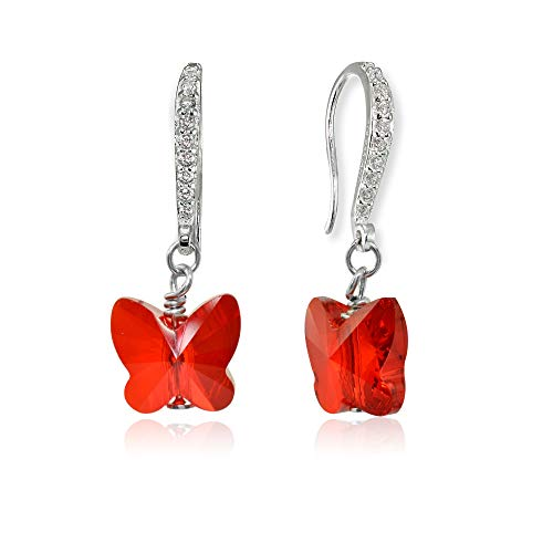 - Sterling Silver Ruby Red Butterfly Dangle Earrings Made with Swarovski Crystals for Women Girls