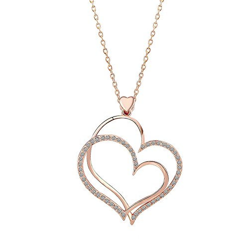 Isijie Jewelry Rose Gold Plated Crystal Double Love Heart Shape Pendant Necklace,Nickel Free Hypoallergenic Gift Packing Necklace by Isijie Jewelry