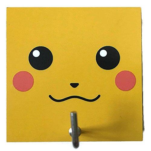 [Agility Bathroom Wall Hanger Hat Bag Key Adhesive Wood Hook Vintage Yellow Pokemon Pikachu's] (Red Octopus Pajama Costumes)