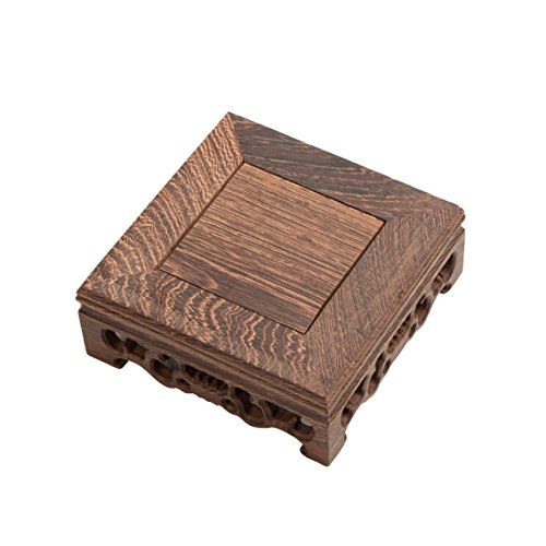 Nice Hand Square Rosewood Stand (M) Square Shape Carved Solid Rosewood Chicking Wing Wood JiChi Display Stand Vase Jar Stands Flower Pot Fish Bowl Base Home Decoration -
