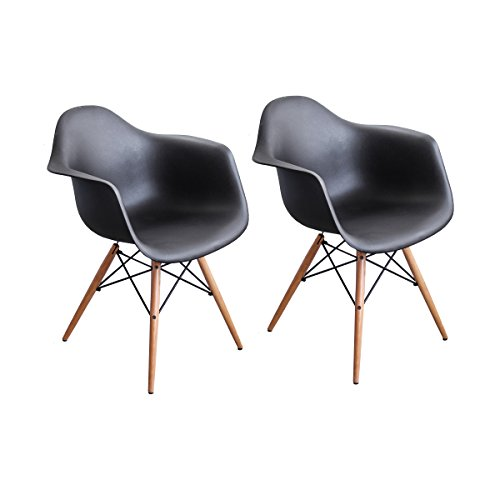 - Buschman Set of Two Black Eames-Style Mid Century Modern Dining Room Wooden Legs Chairs, Armchairs