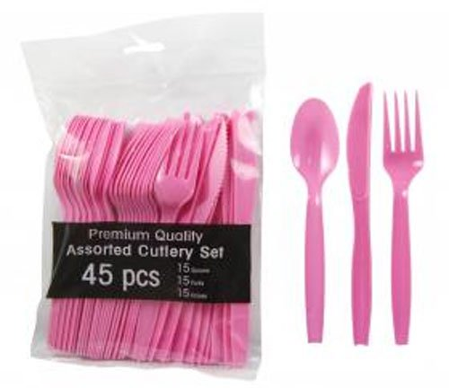 - Hot Pink Party Supplies - Plastic Spoon Fork Knife Utensil Combo Set (Serves up to 15)