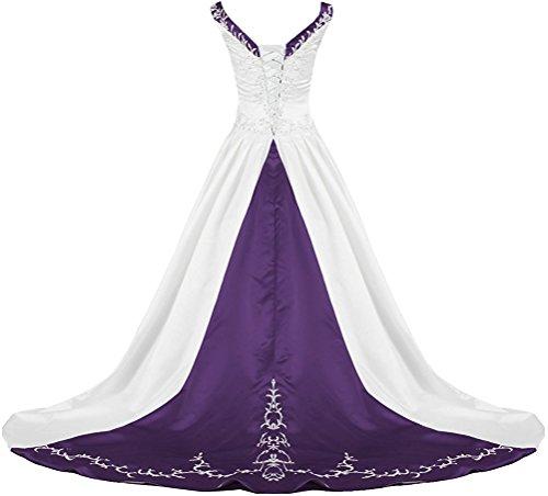 Grape Wedding Invitations - APXPF Women's V Neck Satin Embroidery Wedding Dress for Bride Chapel Train White and Grape US20