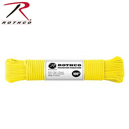 Safety Yellow 550LB 7 Strand Polyester Paracord Rope 100 Feet