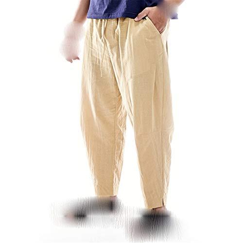 STAZSX Apparel Pantalones de algodón y Lino de Verano Sueltos más Fertilizantes para Aumentar los Pantalones de Lino Pantalones Casuales de Color Caqui Caqui