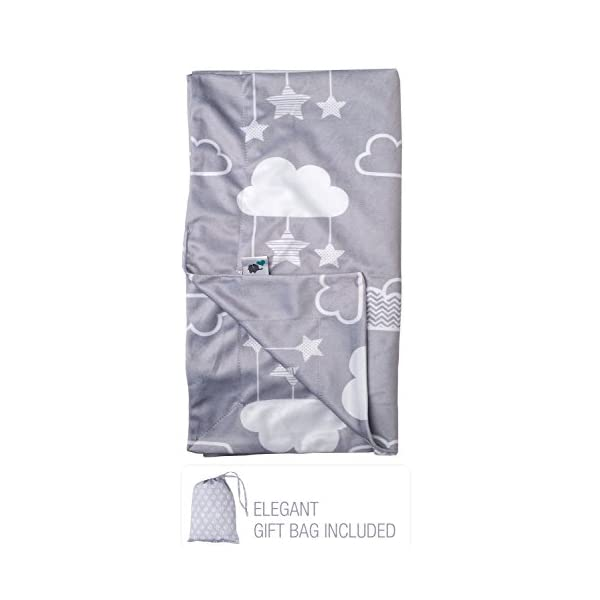 Minky Baby Blanket 30″ x 40″ – Stars and Clouds – Soft Swaddle Blanket for Newborns and Toddlers – Best for Boys or Girls Crib Bedding, Nursery – Plush Double Layer Fleece Fabric