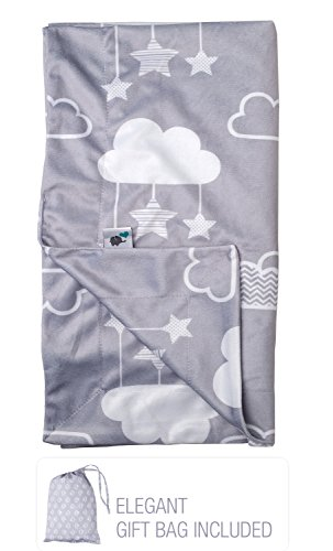 "Minky Baby Blanket 30"" x 40"" - Stars and Clouds - Soft Swaddle Blanket for Newborns and Toddlers - Best for Boys or Girls Crib Bedding, Nursery - Plush Double Layer Fleece Fabric"