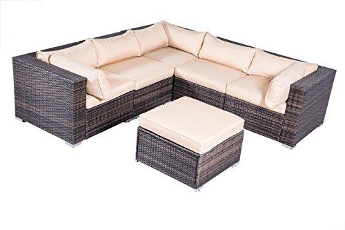 UPC 600607906660, Outdoor Cushioned Rattan Wicker Patio Furniture Set Sectional Conversation Garden Leisure L-shaped Corner Sofa 6PCS