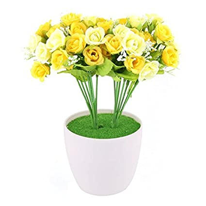 DealMux plástico del Ministerio del Interior de la maceta Craft Table escritorio decoración flor artificial amarillo