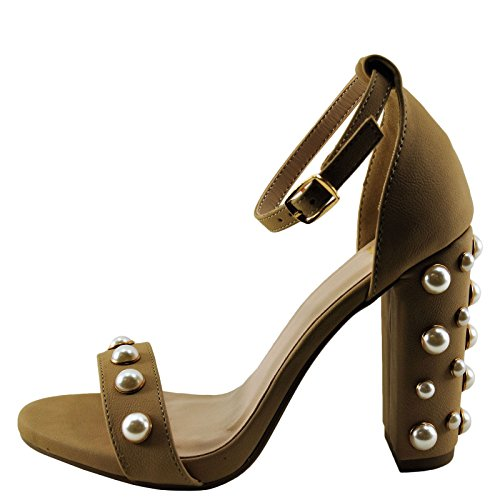 Natural Heel Pearl Toe Sheryl Women's Embellished Delicious Open 64qPw8H