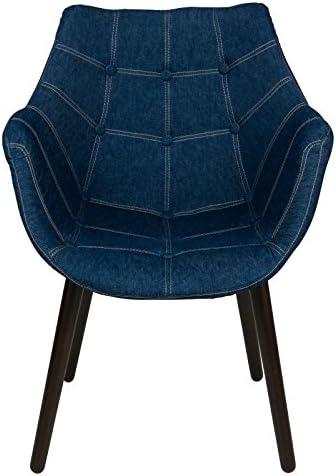 LeisureMod Milburn Tufted Denim Blue Accent Chair