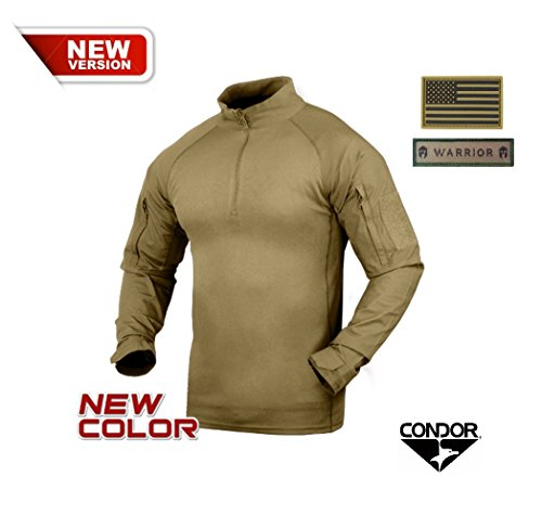 Condor Combat Shirt, Tan + 2 FREE Velcro Patches (Small)