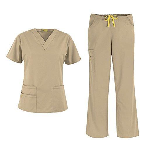 Khaki Mix (WonderWink Origins Women's 6016 Bravo Top & Romeo Pant 5026 Medical Uniform Scrub Set, Mix & Match Sizes (Khaki - XX-Large / XXXL Tall))