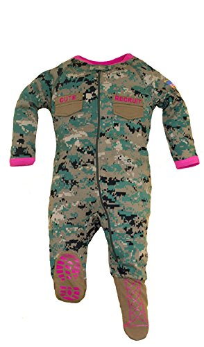 Woodland Camouflage Accents - TC U.S.M.C. Baby Girls Woodland Camo Footed Crawler with Pink Accents (9-12 Months)