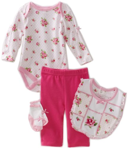 Vitamins Baby Baby-Girls Rose And Gingham Print 4-Piece Creeper Pant Set