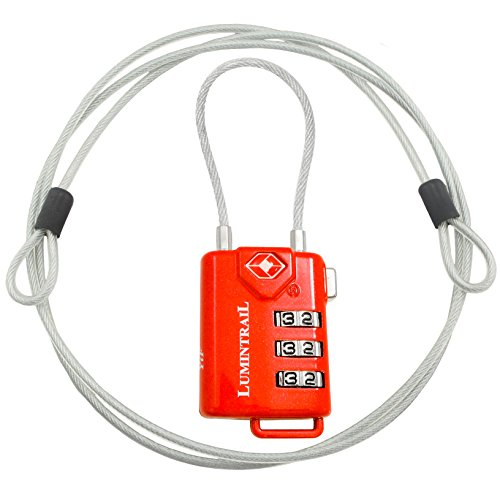 TSA Approved Cable Luggage Locks plus Bonus 4 Foot Steel Cable Lumintrail Combination Travel Security Lock - 1 Pack, Red