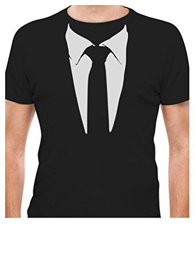 TeeStars Printed Suit & Tie Tuxedo Men's T-Shirt, Large,black