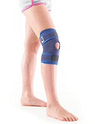 Neo G Knee Brace for Kids, Open Patella - Brace For Juvenile Arthritis Relief, Joint Pain, Meniscus Pain, Sports, Basketball, Running - Adjustable Compression - Class 1 Medical Device - One Size -Blue