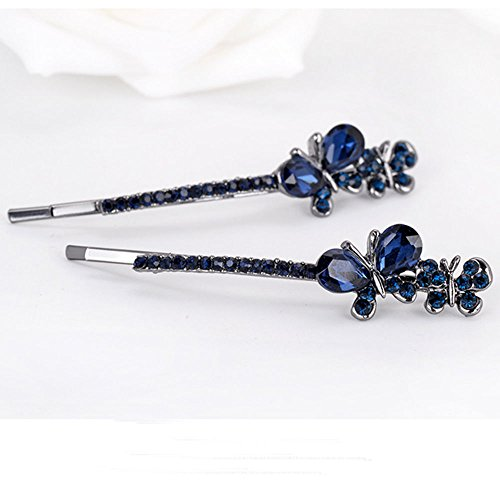 Fashion Crystal Rhinestone Butterfly Hair Barrette Clips Hairpins Women - Pin Lime Crystal