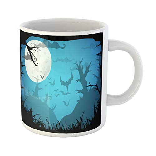 Semtomn Funny Coffee Mug Halloween Blue Spooky A4 Border Moon Death Trees 11 Oz Ceramic Coffee Mugs Tea Cup Best Gift Or Souvenir