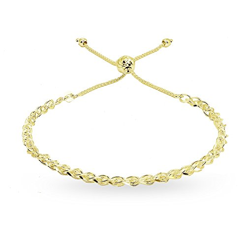 Yellow Gold Spiga Chain - Yellow Gold Flashed Sterling Silver Polished Spiga Chain Adjustable Pull-String Bracelet
