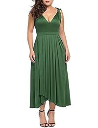 Womens Plus Size Bridesmaid Dress Sleeveless V Neck Cocktail Gown Dress Elegant Party Midi Dress