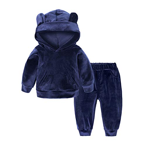 Toddler Baby Boys Girls Pullover Hooded Sweatshirt Velvet Winter Warm Bear Shape Hoodie Tops + Pants Outfit Sets (Recommended Age:18-24 Months, Blue)