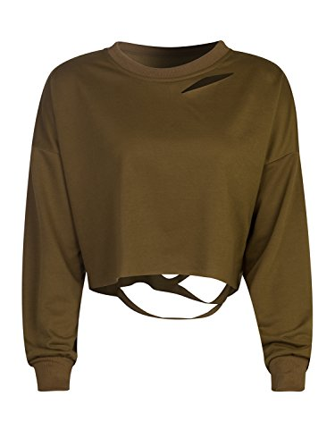 Choies Sleeve Cropped Sweatshirt Pullover