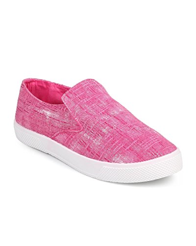 Wild Diva DF50 Women Distressed Canvas Round Toe Elastic Slip on Sneaker - Pink