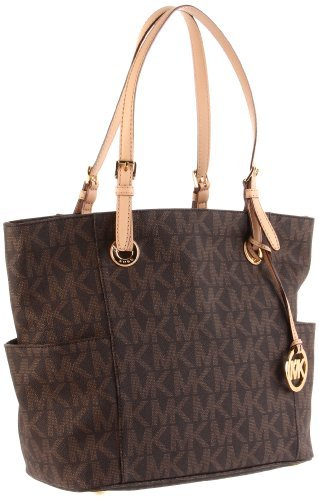 MICHAEL Michael Kors Signature Tote,Brown,one size (East West Embossed Satchel)